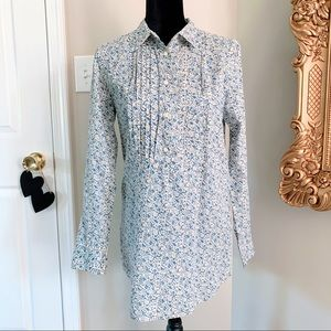 J. Crew Shirt Floral Pleated Collared Blouse S